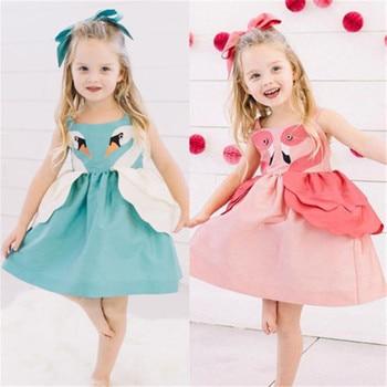 12e6ac53a Swan Flamingo vestidos de bebé sin mangas para niñas 2019 princesa lindo algodón  Niñas Ropa vestido de verano bebé niña tutú vestido