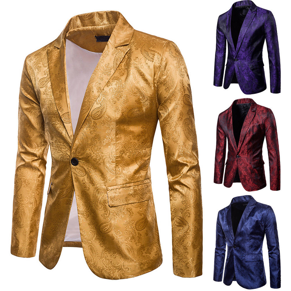 Plus Size M-3XL Stylish Men Shawl Lapel Slim Fit Formal Blazer One Button Wedding Party Evening Suit Coat Jacket Tops