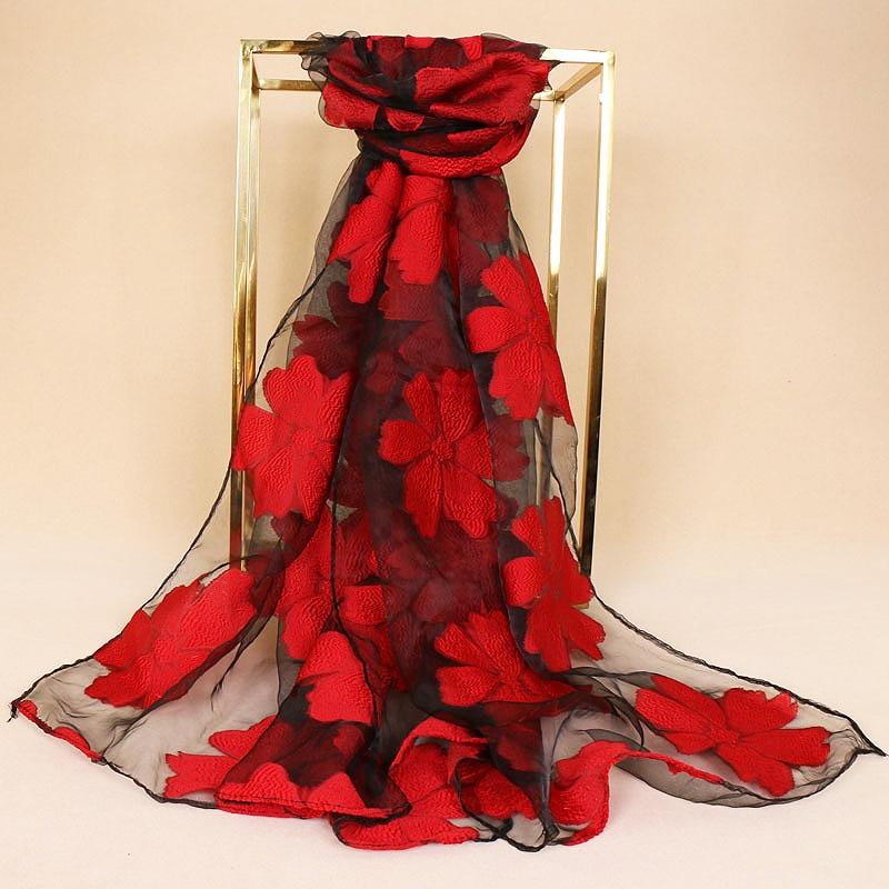 Industrious Fashion Long Scarf 1pc Luxury Organza Silk Shawl Black Lace Women Leaf Hijab Flowers Embroidery Bandana New Yarn Scarves Popular Women's Scarves