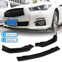 Front Bumper Carbon Fiber/ Matte Black PP Chin Lip Spoiler Splitters Protection Trim For INFINITI Q50 2014 2017