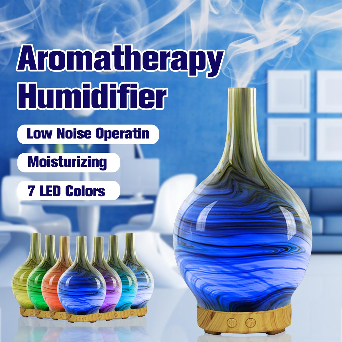 100ml Aromatherapy Humidifier Essential Oil Diffuser Ultrasonic Vase Shape 7 Color LED Light Home Office Living Room Spa Yoga