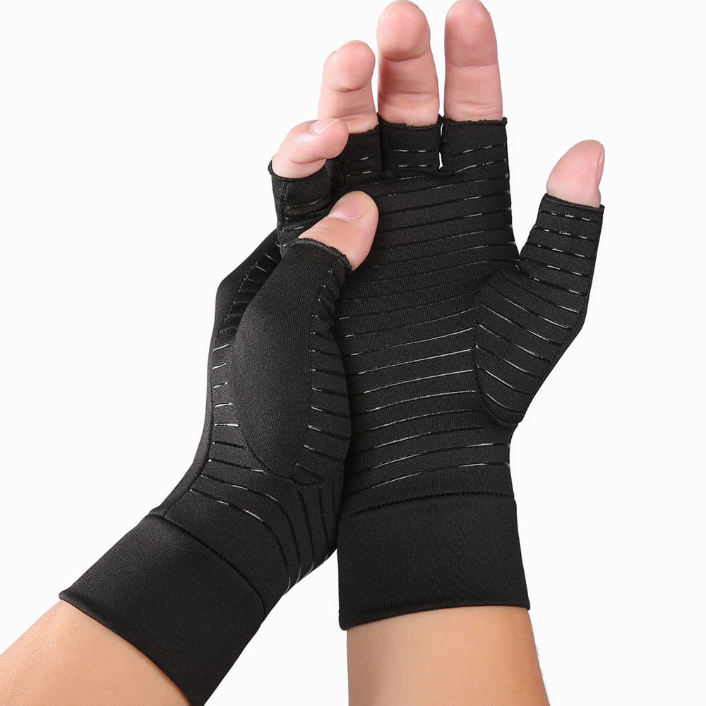 Women Men Copper Arthritis Gloves Compression Carpal Tunnel Trig Finger Joint Pain Relief