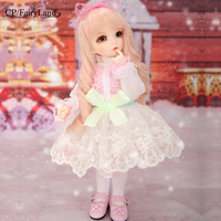 Pink Rose Golden Curly Hair Dolls Full set Toy