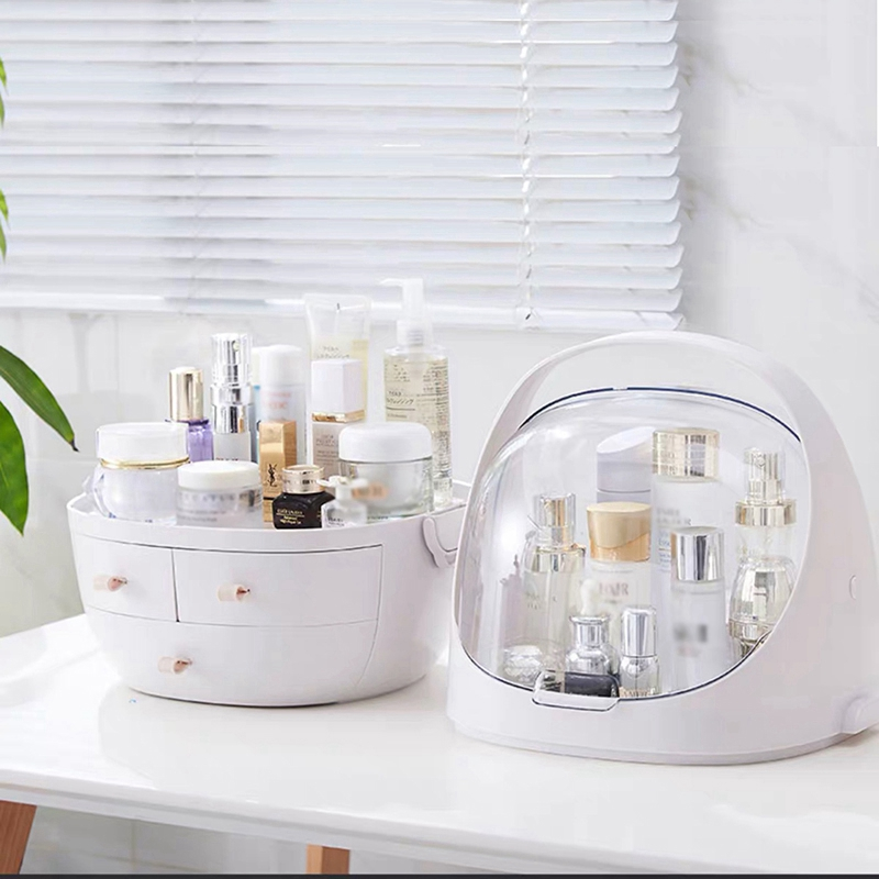 Clamshell 3 Drawer Dressing Table Rounded Makeup Holder Storage Box For Lipstick Jewelry Cosmetic Organizer in Storage Boxes Bins from Home Garden