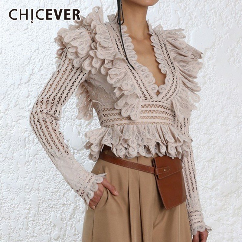 CHICEVER Hollow Out Ruffles Women Tops And Blouses V Neck Long Sleeve Short Tops Female Blouse