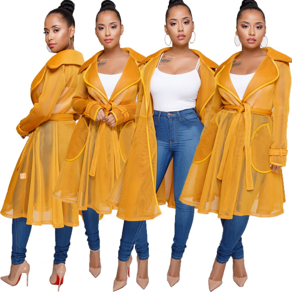 2018 Sexy Solid Mesh Women Long   Trench   Coat New Fashion Turn Down Collar Transparent Coats Sashes Casual Outerwear