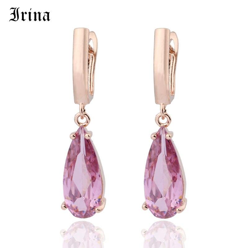 10 Color New Long Earring For Women Fashion Party Jewelry 585 Rose Gold Water Drop Zircon Dangle Earrings