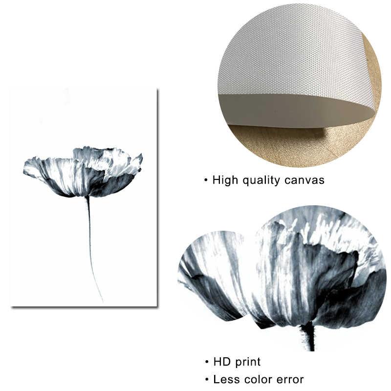 Hitam dan Putih Dinding Seni Mawar Bunga Kanvas Lukisan Bulu Kutipan Poster dan Cetakan Minimalis Gambar untuk Living Room Dekorasi