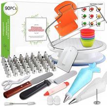 90pcs Cake Decorating Supplies Turntable Piping Tip Nozzle Pastry Bag Set DIY Baking Tool