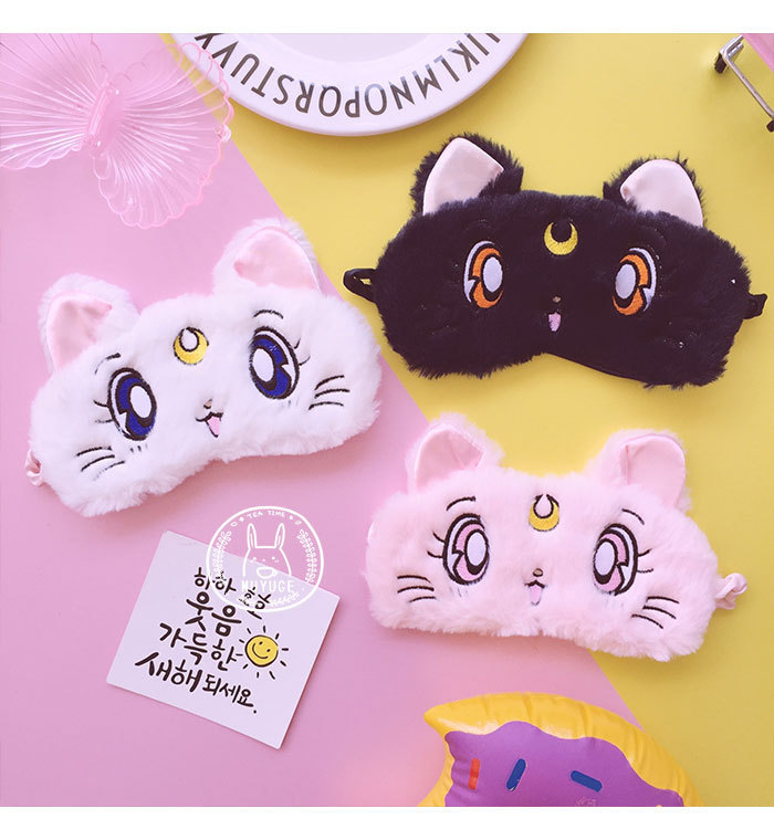 OHCOMICS Anime Sailor Moon Luna Women Girl Cute Cats Sleeping Eye Mask Sleep Rest Travel Shading Sleep Eyeshade Eye Cover