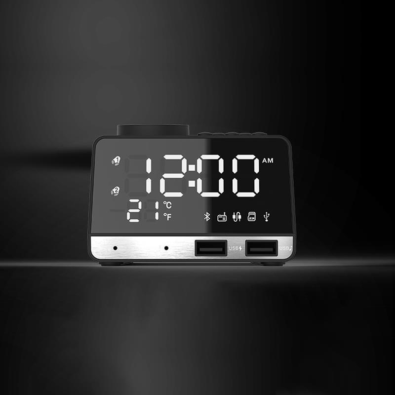 K11 Bluetooth 4.2 Radio Alarm Clock Speaker With 2 USB Ports LED Digital Alarm Clock Home Decration Snooze Table Clock