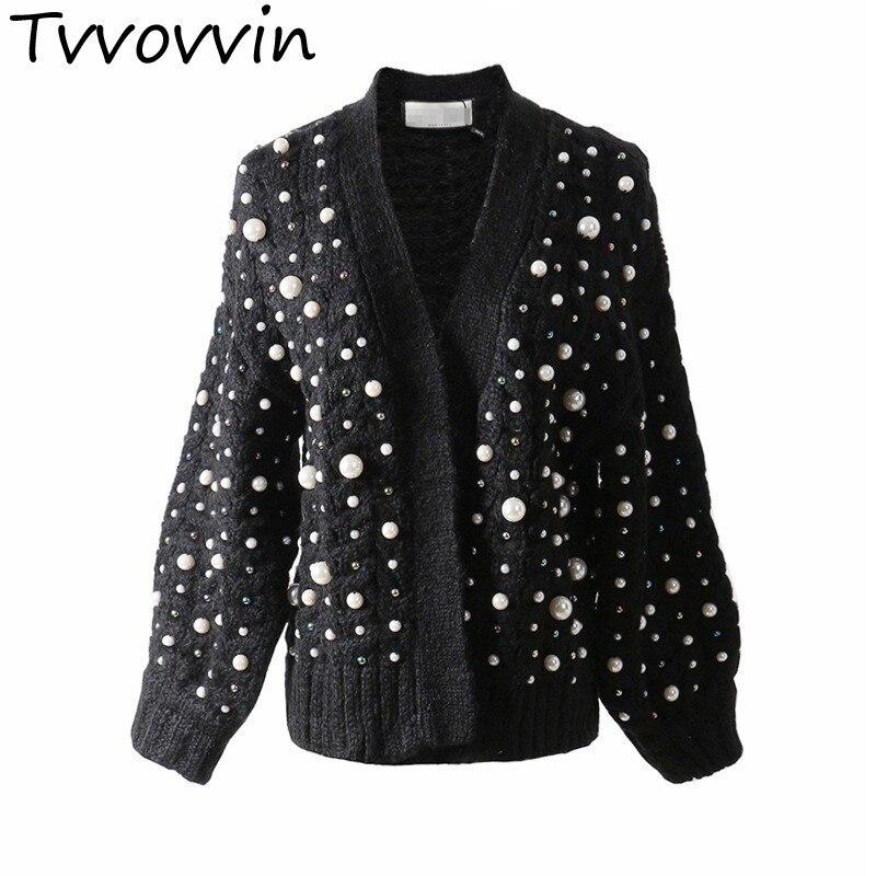 Sweater Pour Femmes Tricot Femme Court Q833 Black Cardigan Chandail Patchwork Manches Sweater Automne khaki Perle Perles Casual À Longues 2019 Mode HWEDI29
