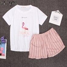 Girocollo Stampa Del Fumetto Top E Bow Anteriore Shorts Pajama Set 2018 Donna Manica Corta Bianco Rosa Pigiama Set