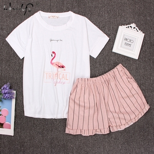 Image 1 - Pyjama à col rond imprimé dessin animé, haut et Short, devant, ensemble pyjama manches courtes pour femmes, ensemble 2018