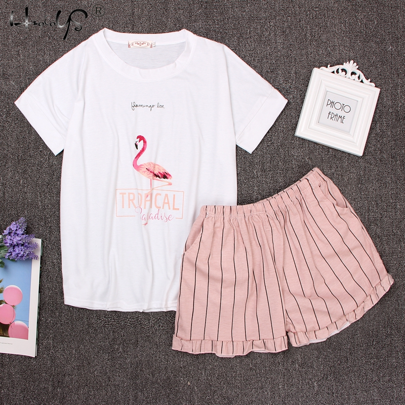 Round Neck Print Cartoon Top And Bow Front Shorts Pajama Set 2018 Woman Short Sleeve White Pink Pajama Set