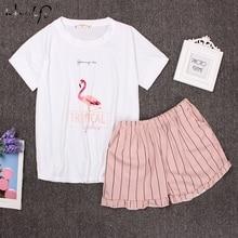 Round Neck Print Cartoon Top And Bow Front Shorts Pajama Set 2018 Woman Short Sleeve White Pink Pajama Set