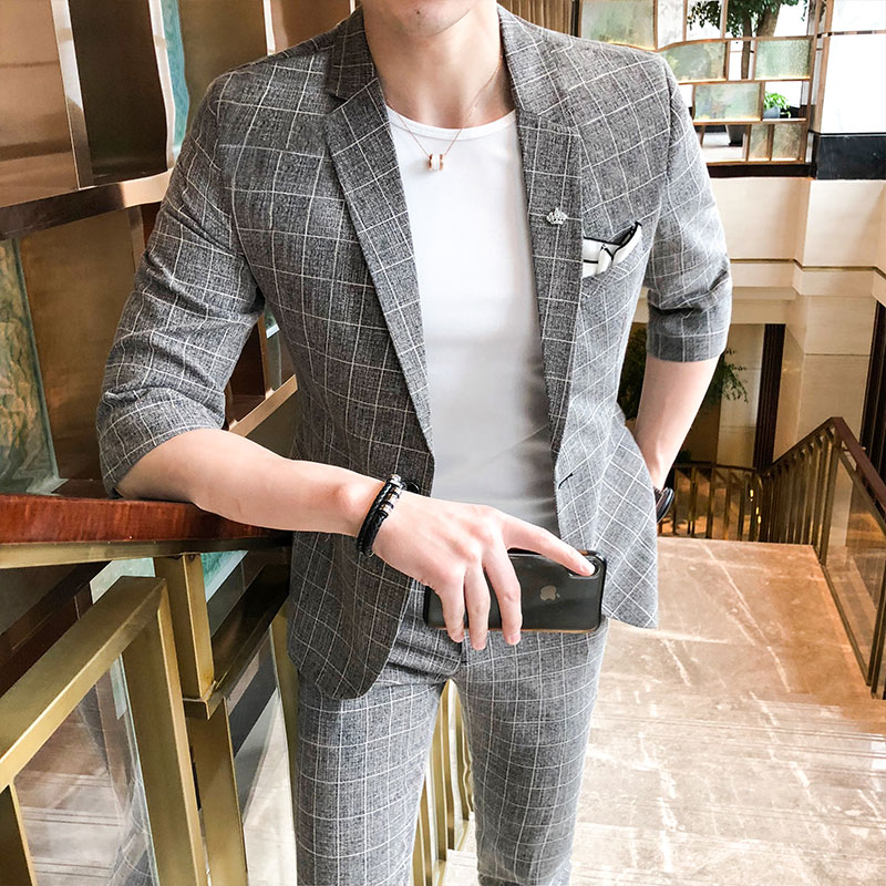 2019 New Pattern Male Sleeve Man's Suit Plus 7 Part Majestic Pants Youth Self cultivation Check Twinset Fashion Best Thin Black