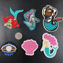 PGY Ocean Series Patch Mermaid Shell Badges Fairy Tale Iron On Patches Kawaii Stickers Clothing Jeans Diy Cartoon Decor