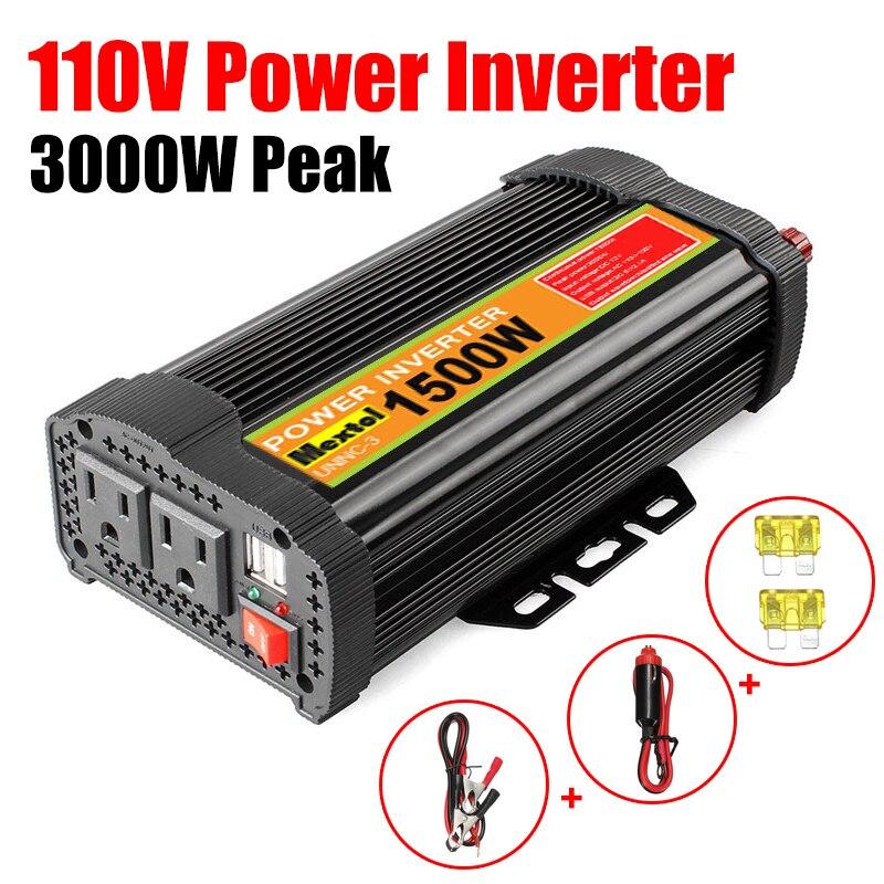 Inverter 12V 110V 3000W Peaks Auto Modified Sine Wave 1500W Voltage Transformer Power Inverter Converter Car