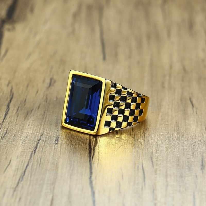 Mens Signet แหวน Checkerboard รูปแบบ Gold Tone สีน้ำเงิน CZ สแตนเลสสี่เหลี่ยมผืนผ้า Royal เครื่องประดับ