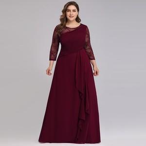 Image 1 - כלה אמא שמלה בתוספת גודל ערב מסיבת שמלות 2020 אלגנטית תחרה אונליין שיפון ארוך שרוול O צוואר אמא של הכלה שמלות