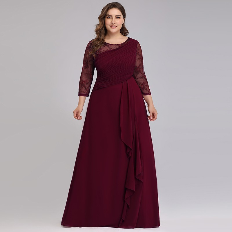 Bride Mother Dress Plus Size Evening Party Gowns 2020 Elegant Lace A-line Chiffon Long Sleeve O-neck Mother Of The Bride Dresses