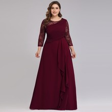 Bride Mother Dress Plus Size Evening Party Gowns 2020 Elegant Lace A line Chiffon Long Sleeve O neck Mother of the Bride Dresses