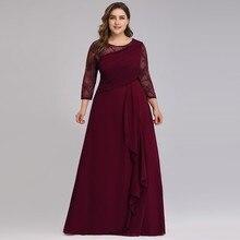 Mariée mère robe grande taille robes de soirée 2020 élégant dentelle a ligne en mousseline de soie à manches longues col rond mère des robes de mariée