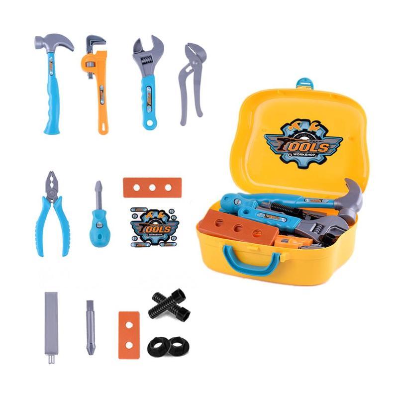 14pcs Children Kids Portable Toolbox Toy Simulation Screwdriver Disassembly Repair Tool Set Pretend Play Toys Maintenance Kit
