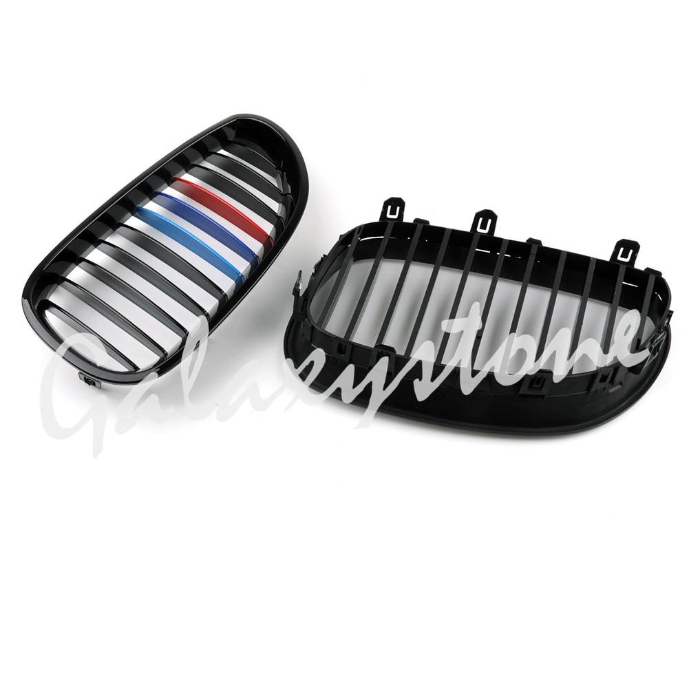 Paire noir brillant M couleur rein Tuning Grilles pour BMW E60 E61 5 Series 2003-2010