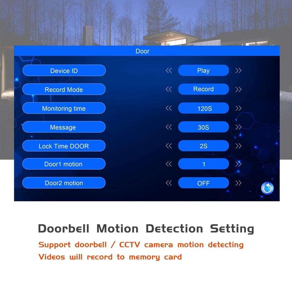 Sonnette d'interphone d'alimentation intégrée de visiophone de 7 pouces avec caméra de vidéosurveillance IR et serrures électroniques prenant en charge le déverrouillage à distance - 3