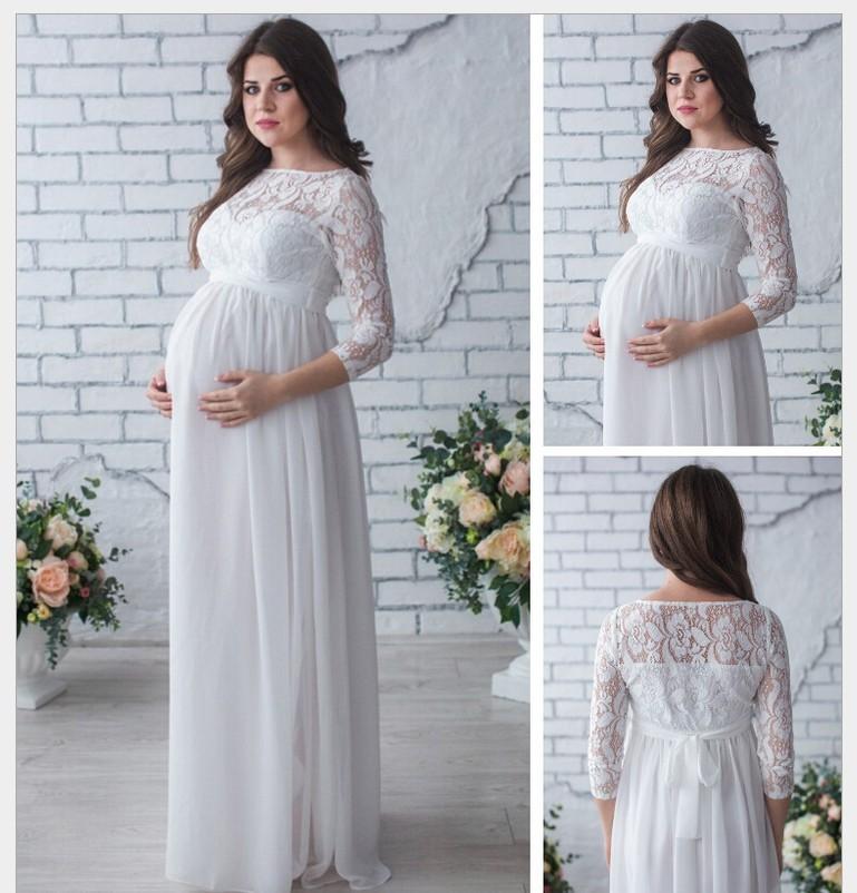 Pregnant Wedding Dress 2020 Elegant A Line O Neck Long Sleeve Lace Long Boho Wedding Dresses Beach Bridal Gowns Robe De Mariee