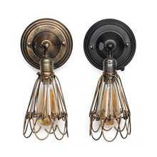 Vintage Loft Industrial viento pared Luz Retro jaula de hierro pequeña lámpara de pared lámparas de noche para restaurante cocina dormitorio