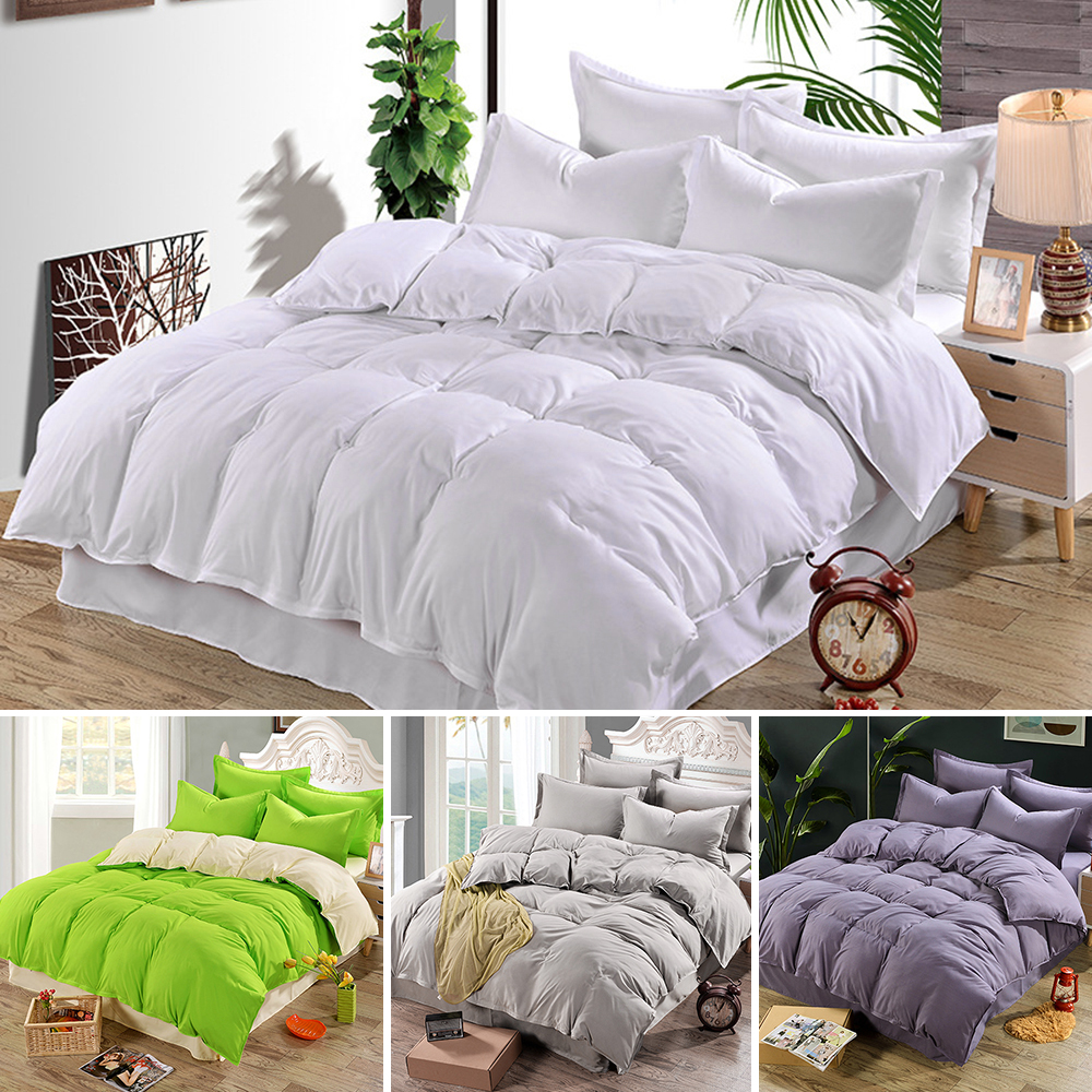 Solid Color Satin Silk Soft Cotton Bedding Set Bedspread Quilted Bed Cover