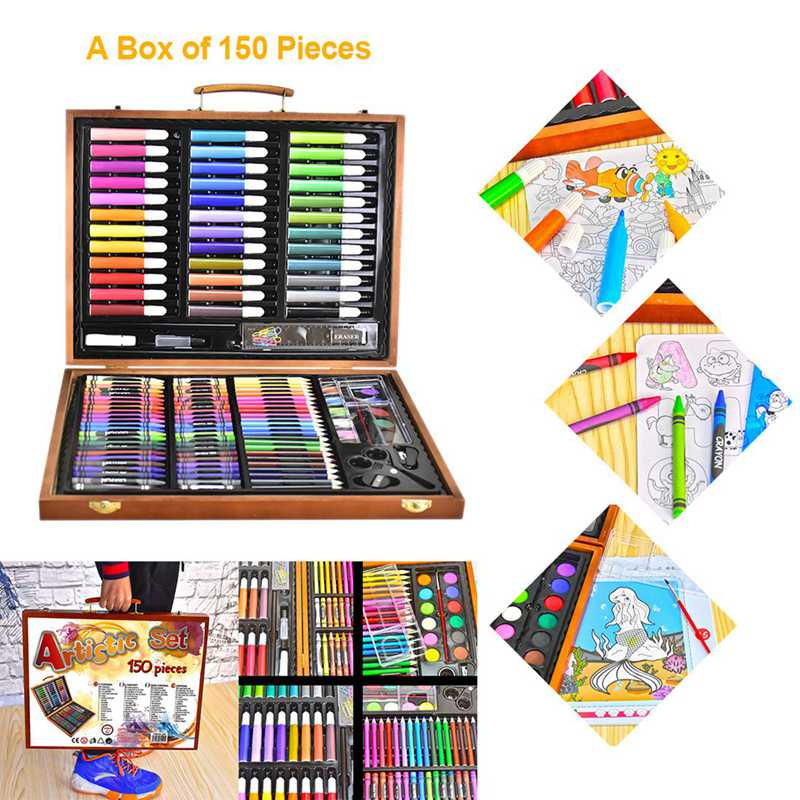 150pcs Painting Tools Big Box Brush Watercolor Pencil Watercolor Child Stationery Set Wooden Box