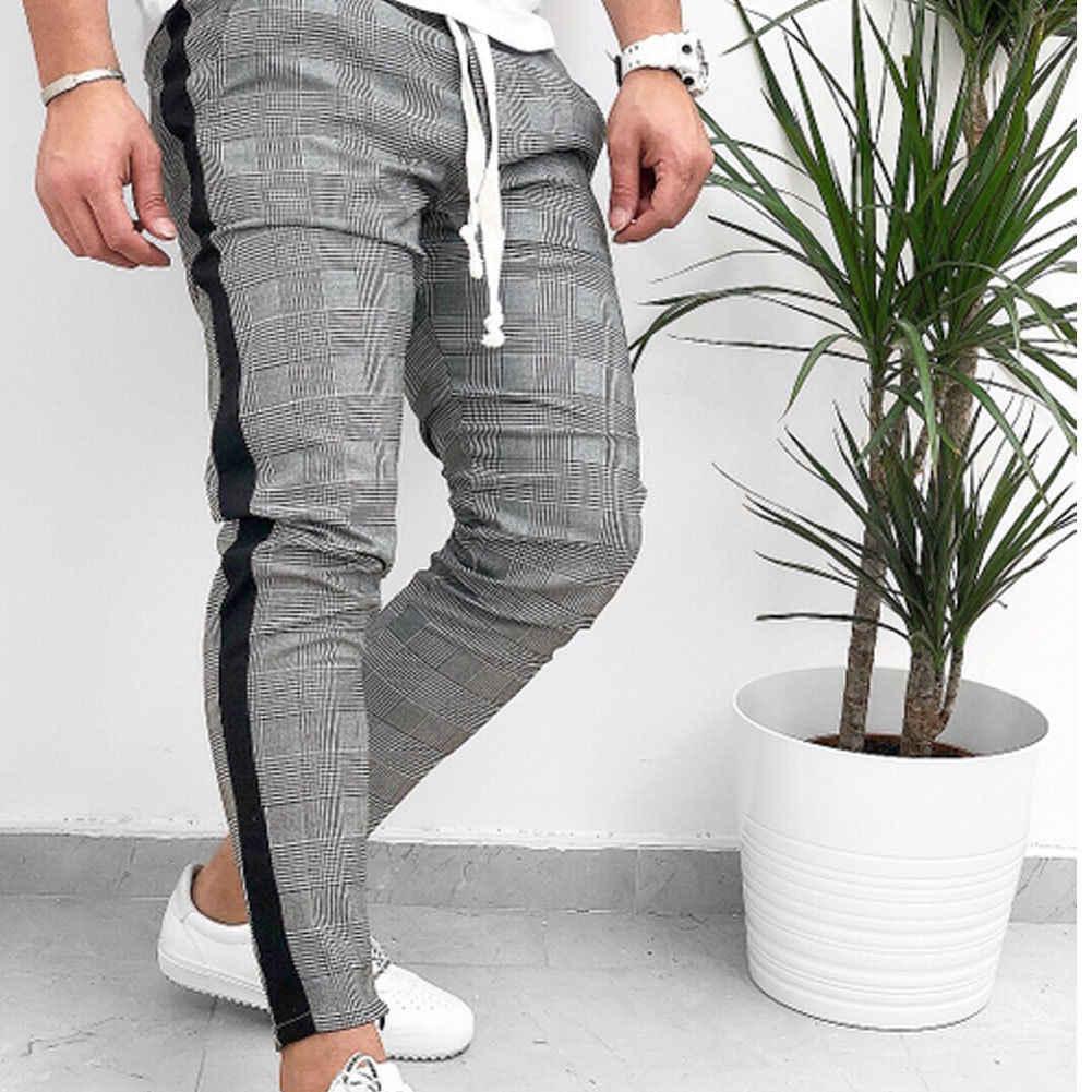 Горячая осень Новый шотландский клетчатый Мужской боковой полосой Спортивные брюки клетчатые джоггеры длинные штаны повседневные спортивные штаны уличная одежда большого размера
