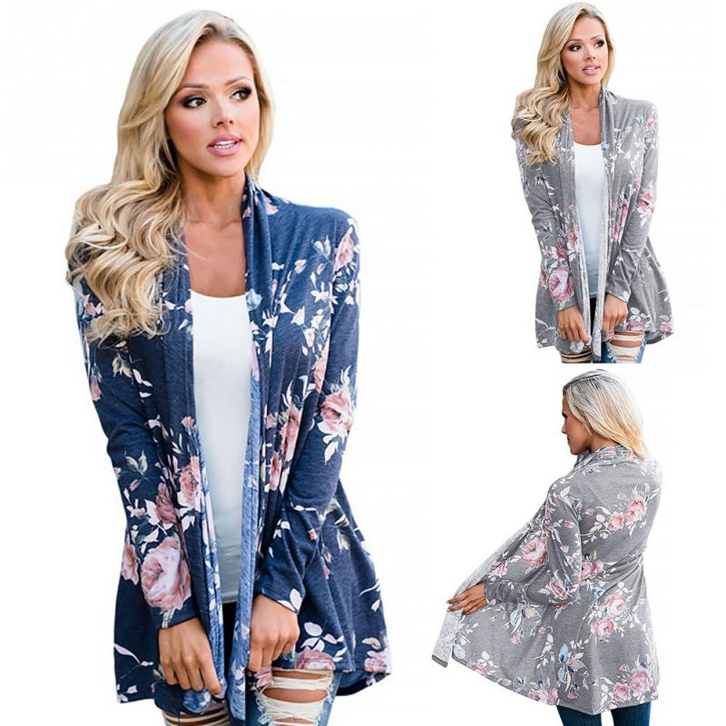 Women   Basic     Jackets   soft Outwear Floral Printing Match Long Sleeve Coat Summer Spring Autumn Daily wear gray blue Loose   jacket