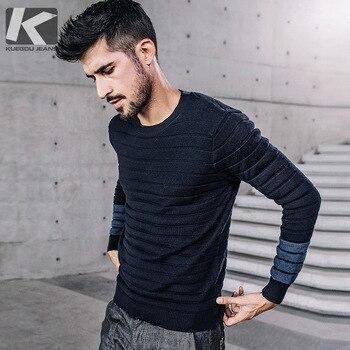 KUEGOU nouveau automne hommes chandails rayé Patchwork couleur bleue tricoté marque vêtements pour homme vêtement tricoté fin hommes pulls 17023