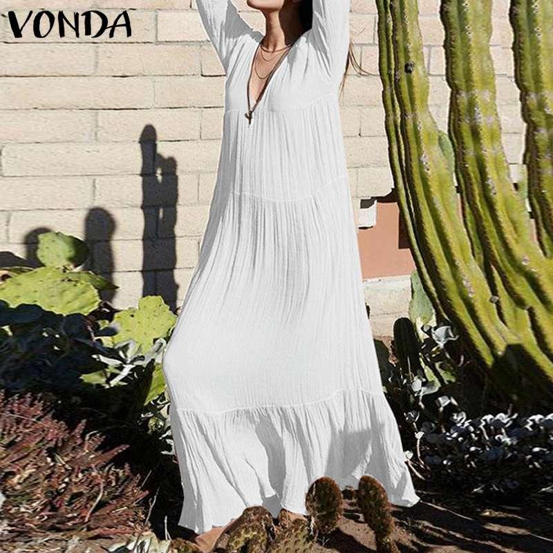 VONDA 2019 Для женщин чешского долго макси платье плюс Размеры Весна Винтаж Повседневное свободные V шеи Vestido пляж черный, белый цвет платье S-5XL