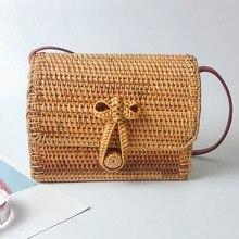 Bolsa de paja para las mujeres de mimbre bolsos de verano de playa tejida bolso  para damas Babi de mimbre 02529ef2cfa