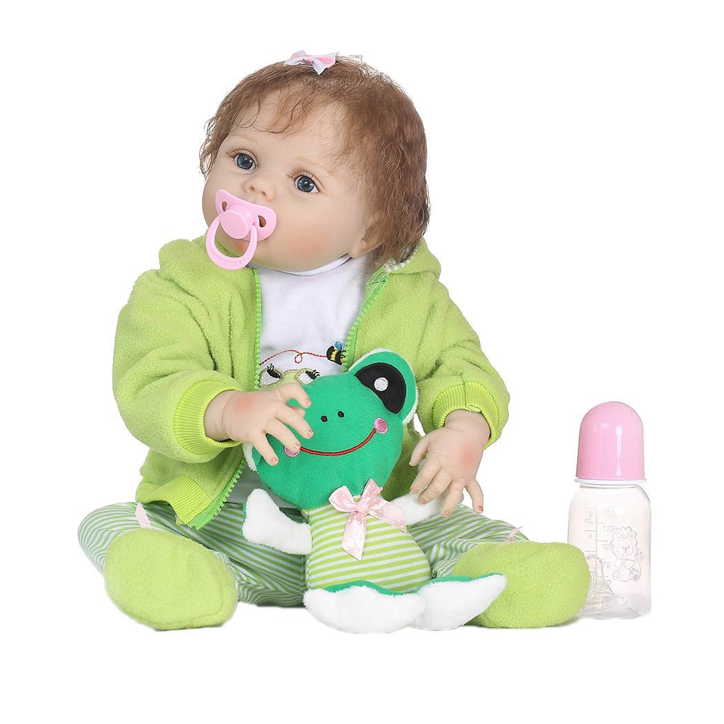 Kids Soft Silicone Realistic With Clothes Green Reborn Collectibles, Gift, Playmate Baby Doll 2-4YearsKids Soft Silicone Realistic With Clothes Green Reborn Collectibles, Gift, Playmate Baby Doll 2-4Years