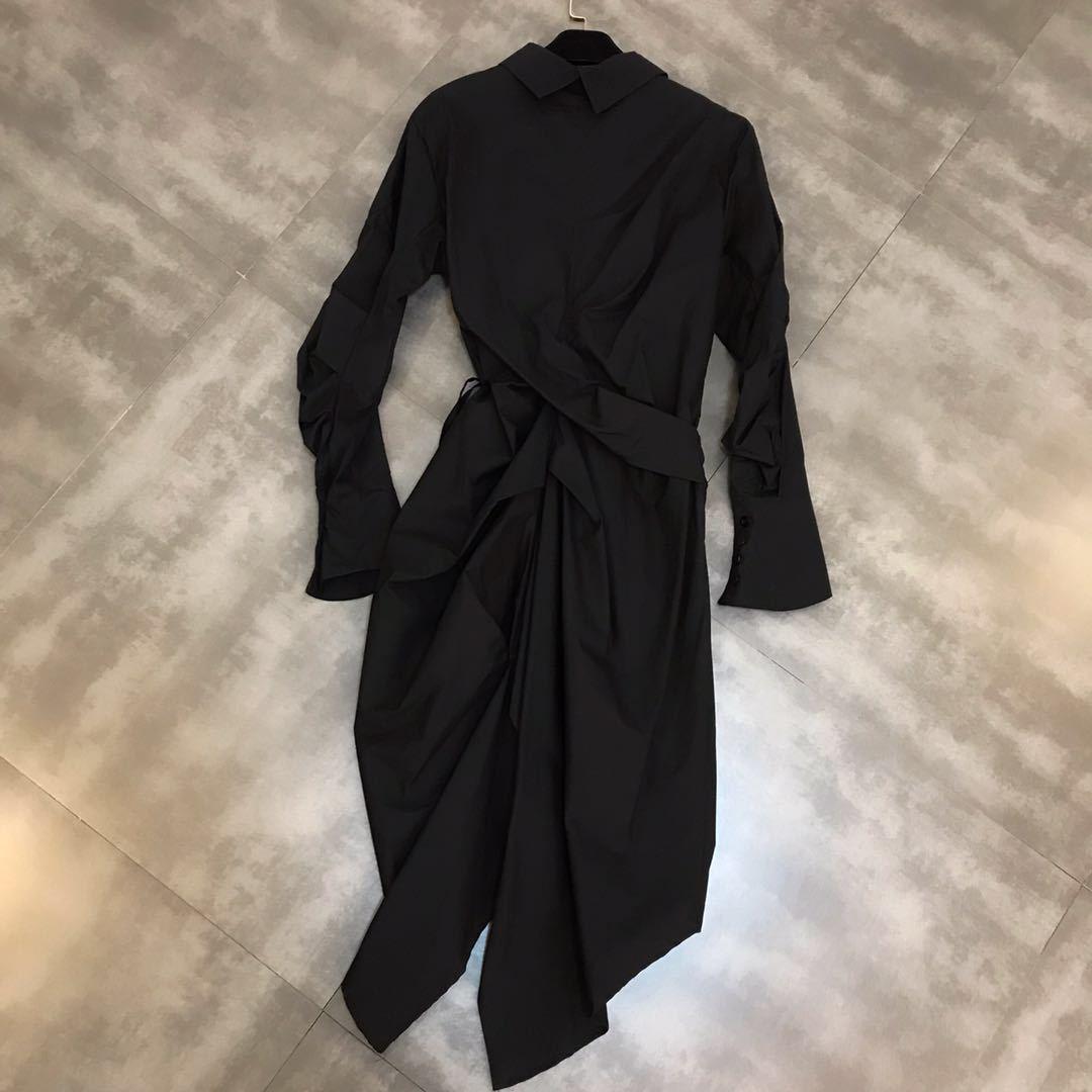 DEAT 2019 nouveau printemps mode femmes vêtements décontracté lâche col rabattu irrégulière chemise robe femme Cestido ZA009100 - 3