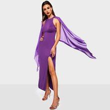 Women Maxi Chiffon Dresses Vintage Elegant Purple Party Plain Mesh Split Sexy Hot Sale Female Fashion Office Lady Retro Dress