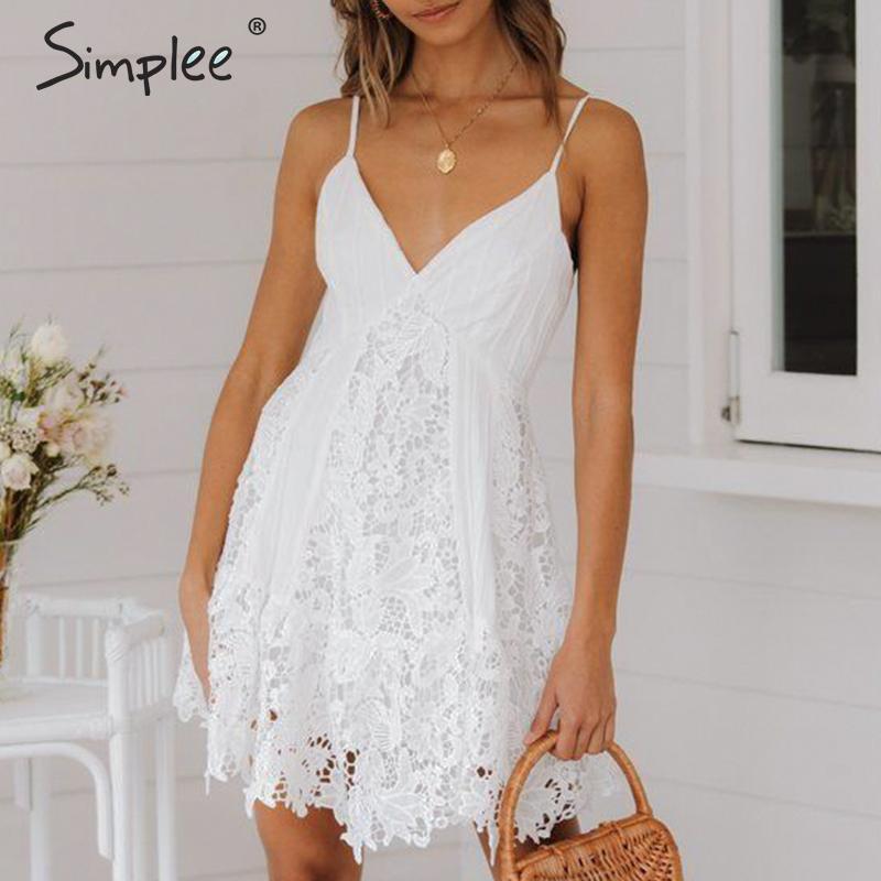 Simplee Sexy v образным вырезом вышивка кружевное платье для женщин летние Спагетти ремень плюс размеры хлопок vestidos женские белые вечерние Клубн...