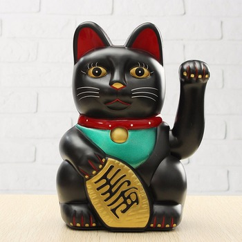 Neue 1Pcs 17,85 cm Große Schwarz Klassische Glück Reichtum Elektrische Wink Katze Winken Katze Zuwinken Maneki Feng Shui Handwerk wohnkultur Geschenke