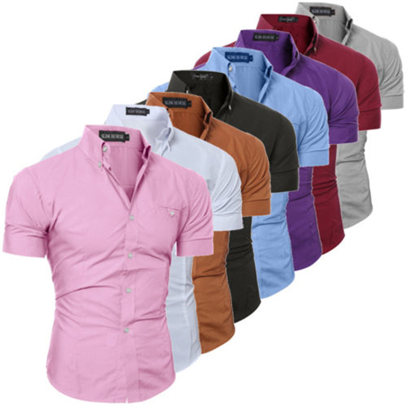 2019 Men's Slim Fit Shirt Short Sleeve Business Formal Casual Shirt Tops Solid Single Breasted 8 Color M-3XL