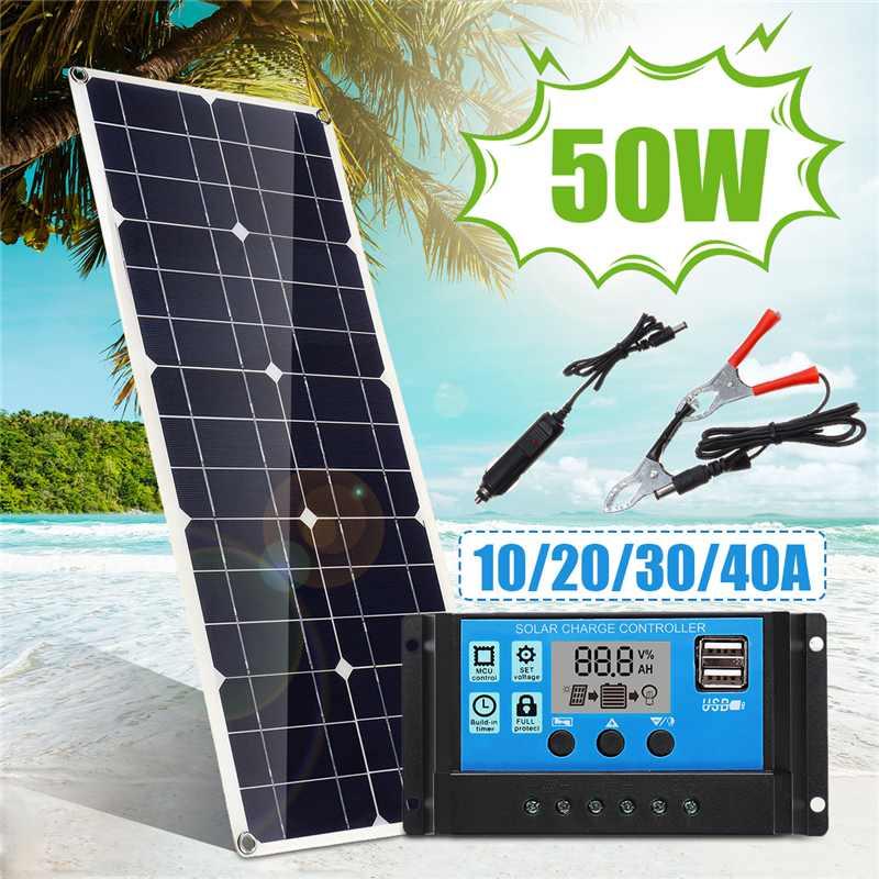 Panneau solaire 50 W avec USB avec contrôleur de régulateur de panneau solaire USB double 10/20/30/40/50A ect pour les lumières de voiture yacht RV Charge