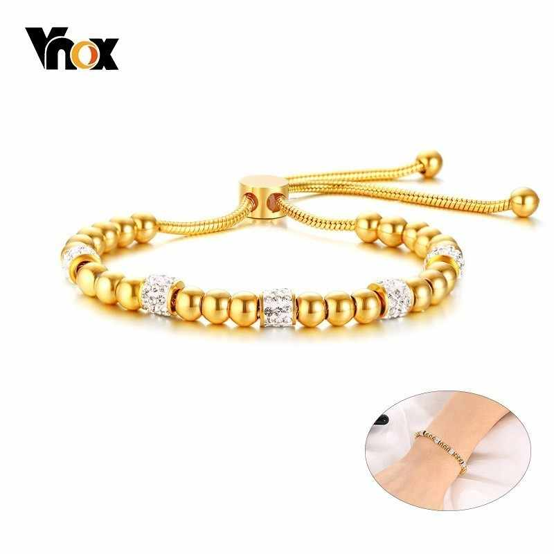 Vnox Bling Rhinestones Beads Charm Rope Bracelets for Women Gold Color Stainless Steel Length Adjustable