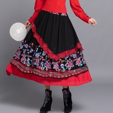 Women Floral  Embroidery Skirts High Waist Lace Patchwork Vintage Spring Summer Faldas Saia