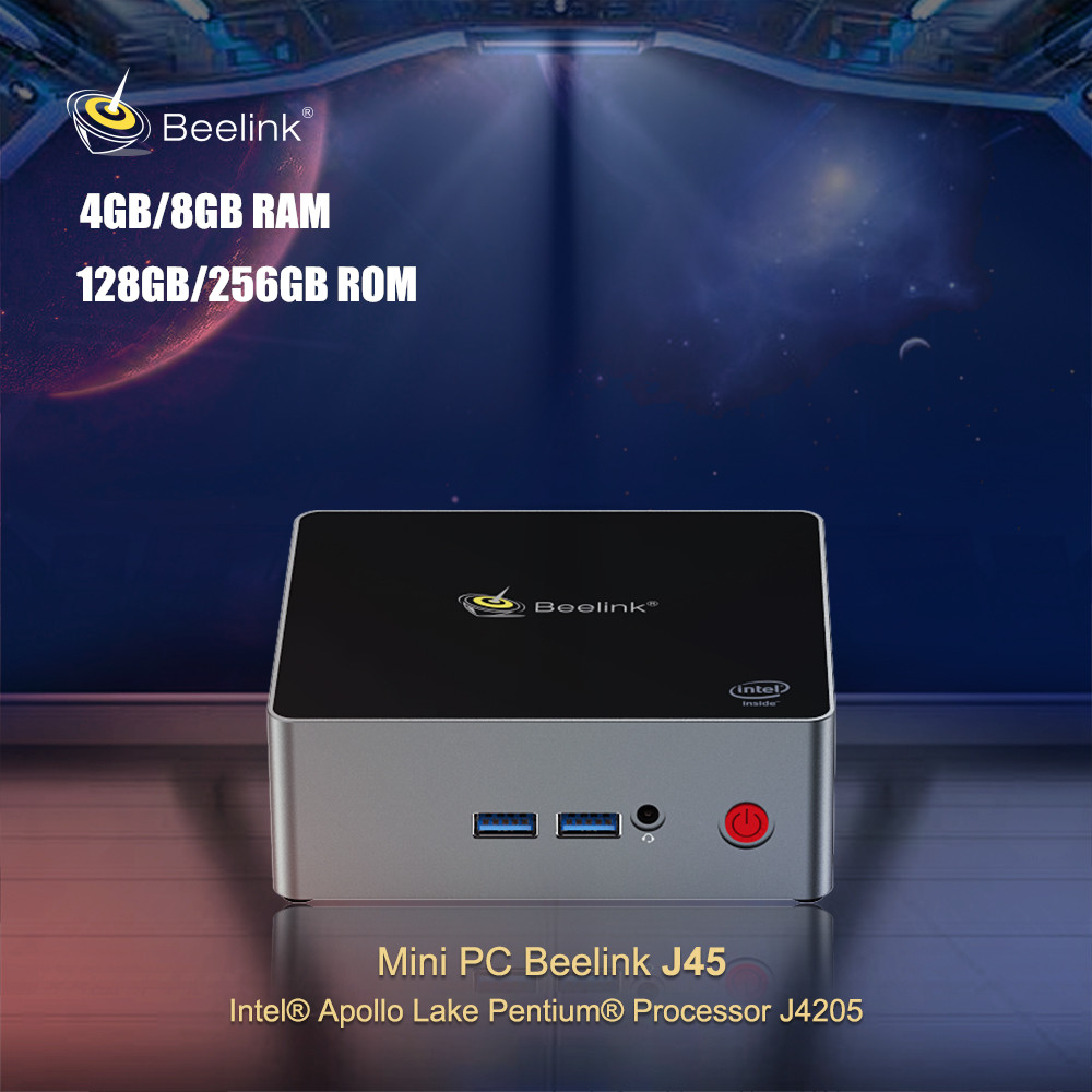 Beelink J45 Mini PC Intel Apollo Lake Pentium J4205 Windows 10 Quad Core Set Top Box 2.4GHz/5.8GHz WiFi BT4.0 1000Mbps 4K H.265